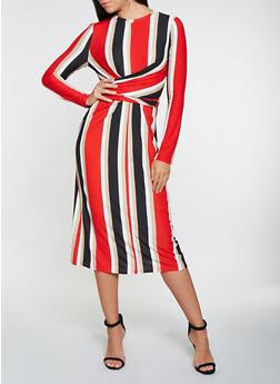 Striped Twist Front Tie Back Dress - 3410069390718