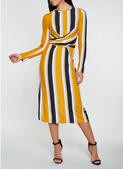 Striped Twist Front Tie Back Dress - 3410069390718