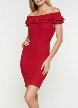 Ruffled Off the Shoulder Dress - 3410069390774