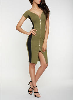 Color Block Zip Front Bodycon Dress - 3410069390775