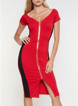 Color Block Zip Front Bodycon Dress - 3410069390775
