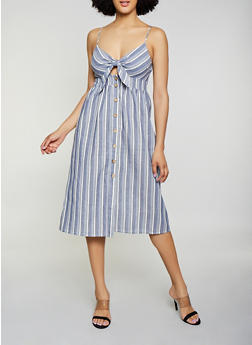 Button Front Linen Midi Dress - 3410069390973