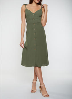 Button Front Midi Dress - 3410069390992