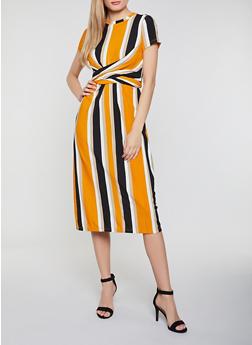 Striped Rib Knit Tie Back Dress - 3410069391037