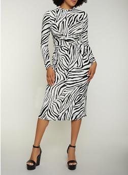 Zebra Print Twist Front Dress - 3410069391071
