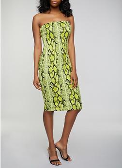 Snake Print Soft Knit Tube Dress - 3410069391123