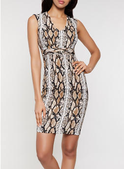 Snake Print Textured Knit Sheath Dress - 3410069391124