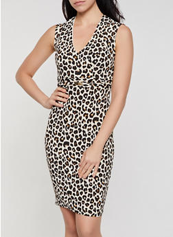 Leopard Print Textured Knit Sheath Dress - 3410069391128