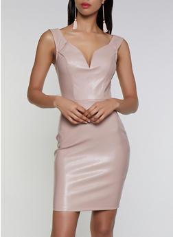 Faux Leather Bodycon Dress - 3410069391214