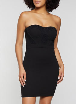 Lace Detail Strapless Bodycon Dress - 3410069392058