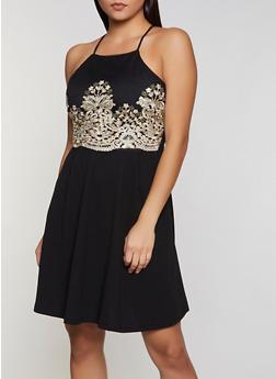 Embroidered Crochet Detail Skater Dress - 3410069392076