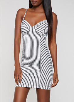 Striped Cami Bodycon Dress - 3410069392102