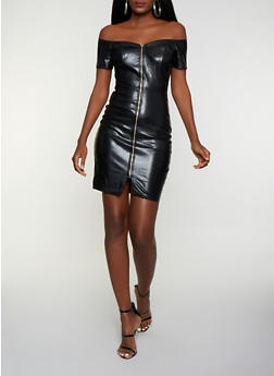 Faux Leather Off the Shoulder Bodycon Dress - 3410069392140
