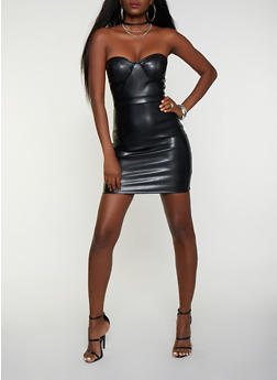 Faux Leather Bustier Mini Dress - 3410069392144