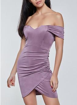Off the Shoulder Spandex Dress - 3410069392194