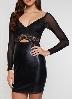 Lace Faux Leather Bodycon Dress - 3410069392195
