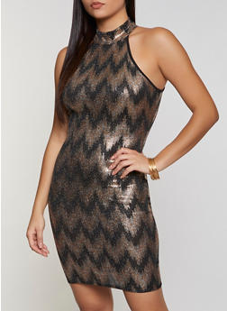 Chevron Foil Print Bodycon Dress - 3410069392204
