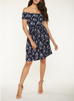 Printed Off the Shoulder Skater Dress - 3410069392735