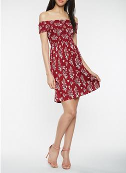 Printed Off the Shoulder Skater Dress - 3410069392735