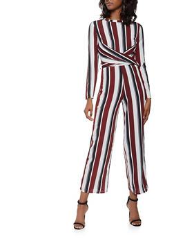 Striped Faux Wrap Palazzo Jumpsuit - 3410069393050