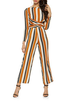 Striped Faux Wrap Palazzo Jumpsuit - 3410069393050
