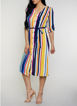 Vertical Stripe Shirt Dress - 3410069393078