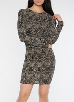 Glitter Knit Open Back Bodycon Dress - 3410069393432