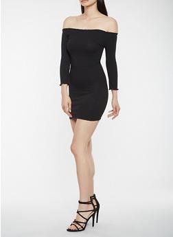 Ribbed Knit Off the Shoulder Dress - BLACK - 3410069393812