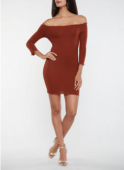 Ribbed Knit Off the Shoulder Dress - 3410069393812