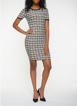 Plaid T Shirt Dress - 3410069393819