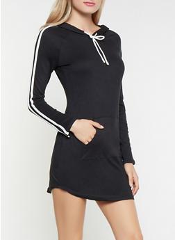 Hooded Varsity Stripe Dress - 3410069393921