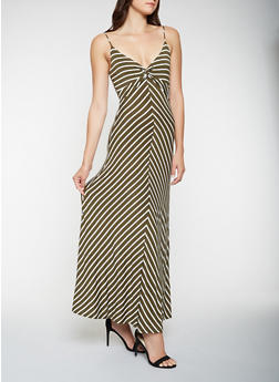 Knot Front Striped Tank Maxi Dress - 3410069393936