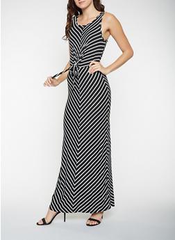 Tie Front Striped Tank Maxi Dress - 3410069393937