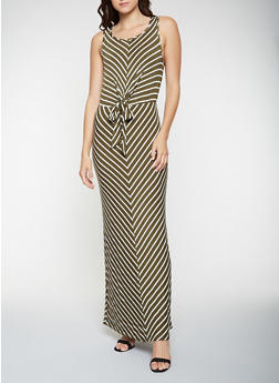 Tie Front Striped Tank Maxi Dress - 3410069393937