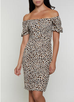 Leopard Off the Shoulder Crepe Knit Dress - 3410069393943