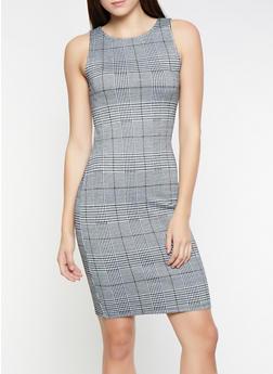 Sleeveless Plaid Dress - 3410069393949