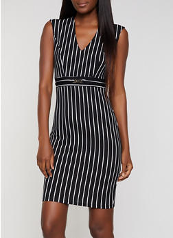 Striped Waist Detail Sheath Dress - 3410069393996
