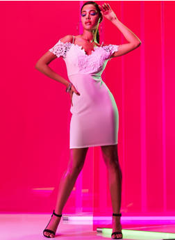 Crochet Off the Shoulder Bodycon Dress - 3410069394007
