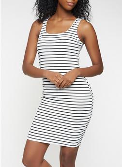 Striped Tank Dress - WHITE - 3410069394020