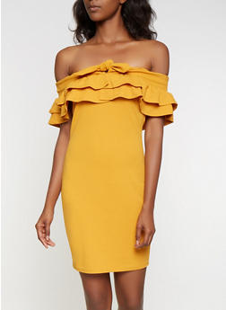 Ruffled Off the Shoulder Dress - 3410069394048
