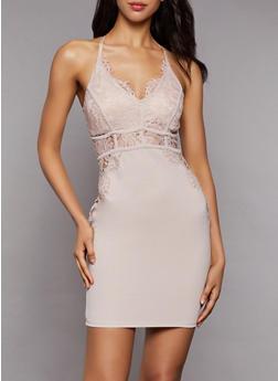Lace Detail Bodycon Dress - 3410069394102