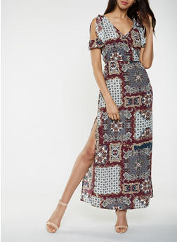 Printed Faux Wrap Maxi Dress - 3410069394106