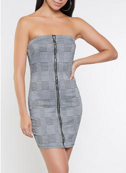 Plaid Strapless Zip Up Dress - 3410069394112