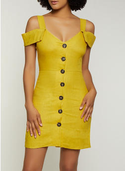 Cold Shoulder Linen Dress - 3410069394170