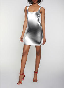 Striped Ponte Bodycon Dress - 3410069394190