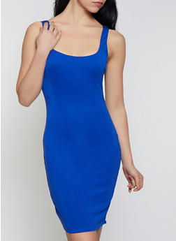 Solid Square Neck Bodycon Dress - 3410069394191