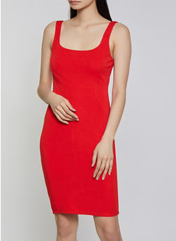 Solid Square Neck Bodycon Dress - 3410069394191