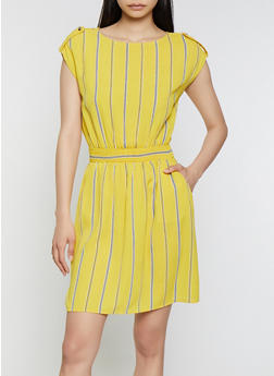 Cinched Waist Striped Dress - 3410069394196