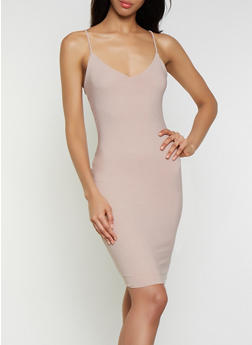 Sleeveless V Neck Bodycon Dress - 3410069394201