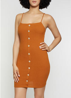 Ribbed Knit Button Bodycon Dress - 3410069394210
